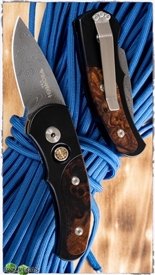 Protech Custom J4 Runt Auto Desert Ironwood & Damascus S/N 10 of 20
