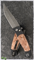 Protech Brend #3 Auto Damascus Blade Maple Burl Inlays