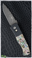 Protech Emerson CQC7 Auto E7A Drop Point Damascus Abalone Inlays Black Handle