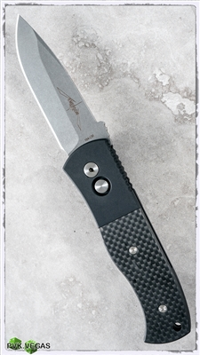 Protech Emerson CQC7 Auto E7A104 Spear Point Silver Blade Carbon Fiber Inlay Black Handle