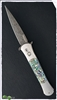 Protech Large Don Auto Stainless Steel Handle Damascus Blade Abalone Inlays