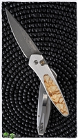 Protech Newport Auto Stainless Steel Handle Tiger Coral Inlay Damascus Blade