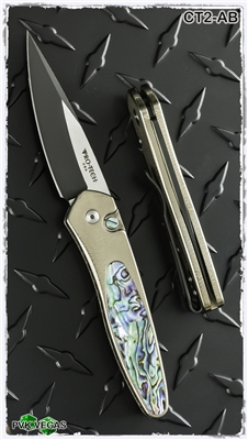Protech Newport Auto Titanium Handle Abalone Inlay Two Tone Blade