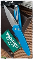 Protech Newport Auto 3405-BLUE Blue Handle Silver Blade