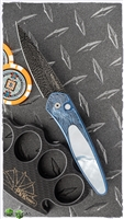 Protech Ultimate Custom Newport Engraved Blue Ti & Mother of Pearl