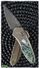 Protech Sprint Custom Auto Damascus Blade Titanium Handle Abalone Inlay