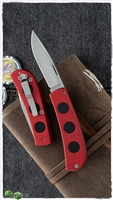 Rostfrei Hidden Scale Release Auto Satin Blade Red Handle