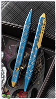 Ryworx Titanium Custom Pen LV Gold + Blue Full Wrap