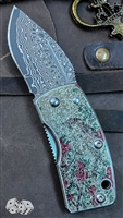 G. Sakai UKIMON- Camellia Artwork Money Clip Knife, VG-10 Core Damascus