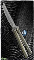 Sam Eddleman Custom Balisong Acid Wash Tanto Green Carbon Fiber / Latchless