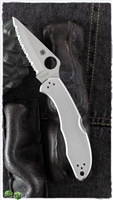 "Spyderco Delica 4 Folding Knife 2-7/8"" VG10 Satin Serrated Blade, Stainless Steel Handles - C11S"