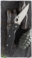 "Spyderco Military Left Handed Folding Knife 4"" S30V Satin Plain Blade, Black G10 Handles - C36GPLE"
