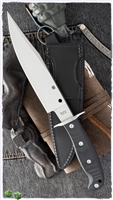 "Spyderco Respect Bowie Fixed Blade, Black G-10, 7.9"" Satin CPM-154"