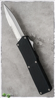 Taiwan Lightning Black Handle Double Edge Silver Partial Serrated Blade