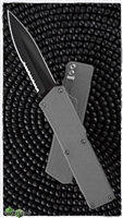 Taiwan Lightning Gray Handle Solid Black Double Edge Partial Serrated Blade