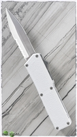 Taiwan Lightning White Handle Silver Partial Serrated Blade