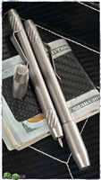 Ti2 Design Techliner (Shorty) Tumbled Titanium Pen, Rare Earth Magnetic Cap