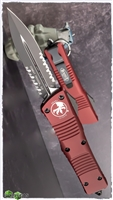Microtech Combat Troodon D/E 142-2MR Partial Serrated Black Blade Merlot Handle