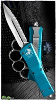 Microtech Combat Troodon 142-6TQ Satin Finish Full Serrated Double Edge Turquoise Handle