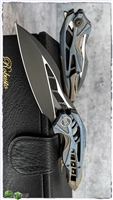 WE Knife Co. Isham Arrakis Knife Blue/Bronze Titanium, Black Stonewashed M390 Steel Blade