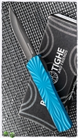 Brian Tighe & Friends Large Twist Tighe D/A OTF, DLC Clip Point Blade and Blue Ceramic Handle