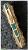 "BURN Knives Custom ""Vengence"" D/A Brass w/ Malachite Inlays & Mirror Blade"