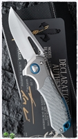 Marfione Custom Protocol Folder Flipper Hand Rubbed Satin Silver Twill Carbon Fiber/Vapor Blasted Blue & Satin Ti HW