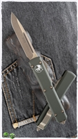 Microtech Ultratech S/E 121-13OD Apocalyptic Bronze Blade OD Green Handle