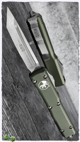 Microtech Ultratech T/E 123-10OD Stonwash Tanto Blade OD Green Handle