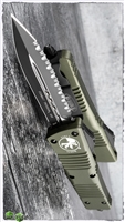 Microtech Combat Troodon D/A OTF 142-3OD D/E Full Serrated Black Blade Green Handle