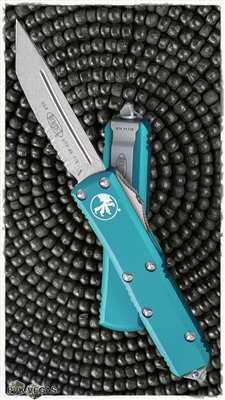 Microtech UTX-85 T/E 233-11TQ Stonewash Serrated Turquoise Handle