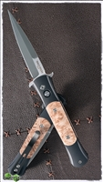 Protech Don Auto 1706 Black Handle Maple Burl Inlays Satin Blade