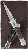 Protech Don Auto 1744 Silver Handle CF Inlays Satin Blade