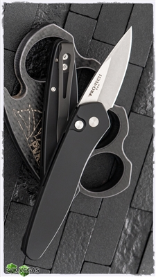 Protech Left Handed Half Breed Auto 3605-LH Black Handle Stonewash BLade