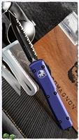 Microtech Ultratech 122-3PU Black Full Serrated Blade Purple Handle