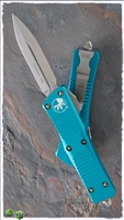 Microtech Troodon D/E 138-10TQ Stonewash Blade Turquoise Handle