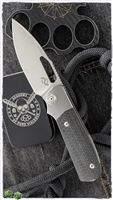 "Liong Mah Design Field Duty Bolster Lock Folding Knife, CF/Titanium Scales, 4"" Satin M390"
