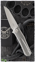 "Liong Mah Design Hawk Flipper Frame Lock, Titanium Scales, 3.25"" Satin M390"