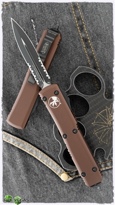 Microtech Ultratech D/A OTF D/E 122-2TA Black Serrated Blade Tan Handle