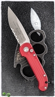 Microtech LUDT 135-5RD Satin Serrated Red Handle