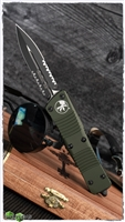 Microtech Troodon D/E 138-2OD Black Serrated OD Green Handle