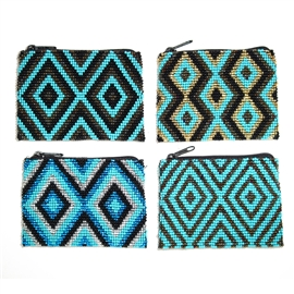 Geometric Coin Purse - #006 Assorted Turquoise
