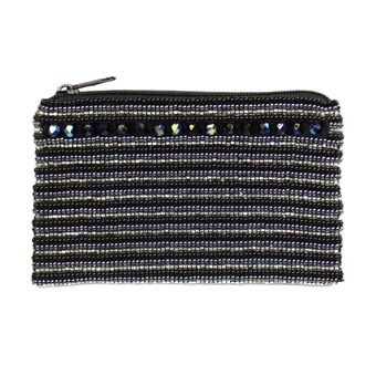 Coin Purse with Crystals - #102 Black and Crystal