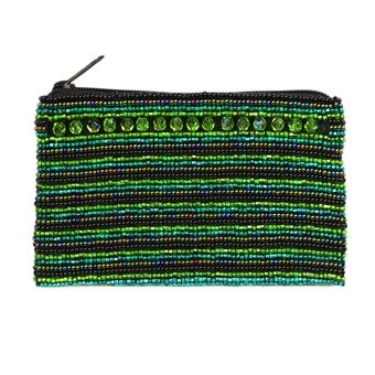 Coin Purse with Crystals - #109 Green