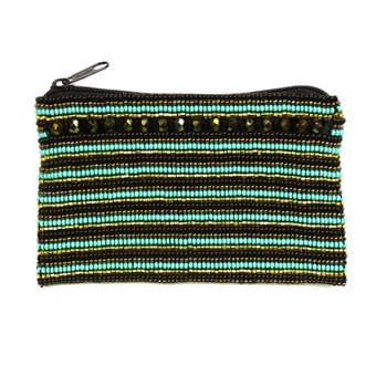Coin Purse with Crystals - #132 Turquoise and Gold
