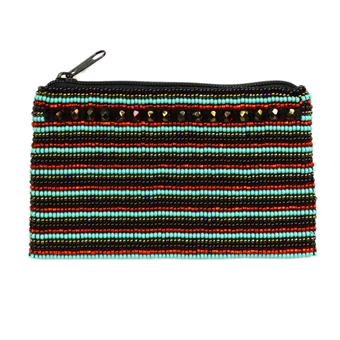 Coin Purse with Crystals - #138 Turquoise and Red