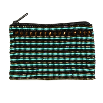 Coin Purse with Crystals - #139 Turquoise, Bronze, Black