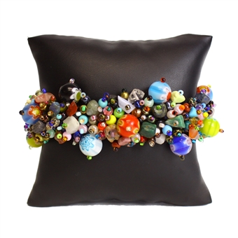 Fuzzy Bracelet with Stones - #098 Planet Multi, Double Magnetic Clasp!