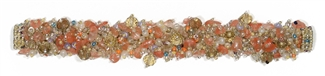 Fuzzy Bracelet with Stones - #129 Peach, Double Magnetic Clasp!