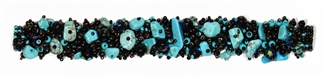 Fuzzy Bracelet with Stones - #139 Turquoise, Brown Iris, Black, Double Magnetic Clasp!